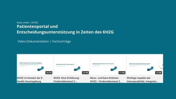 Patientenportal Entscheidungsunterstützung Video KHZG